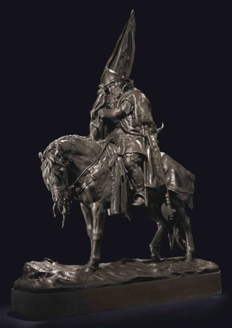 A bronze group of a bogatyr (Ilya Muromets), cast by Chopin after the model by Evgenii Lanceray, late 19th century. 30¼ in (76.8 cm) high. Sold for $104,500 at Christie's in New York on 13 April 2011