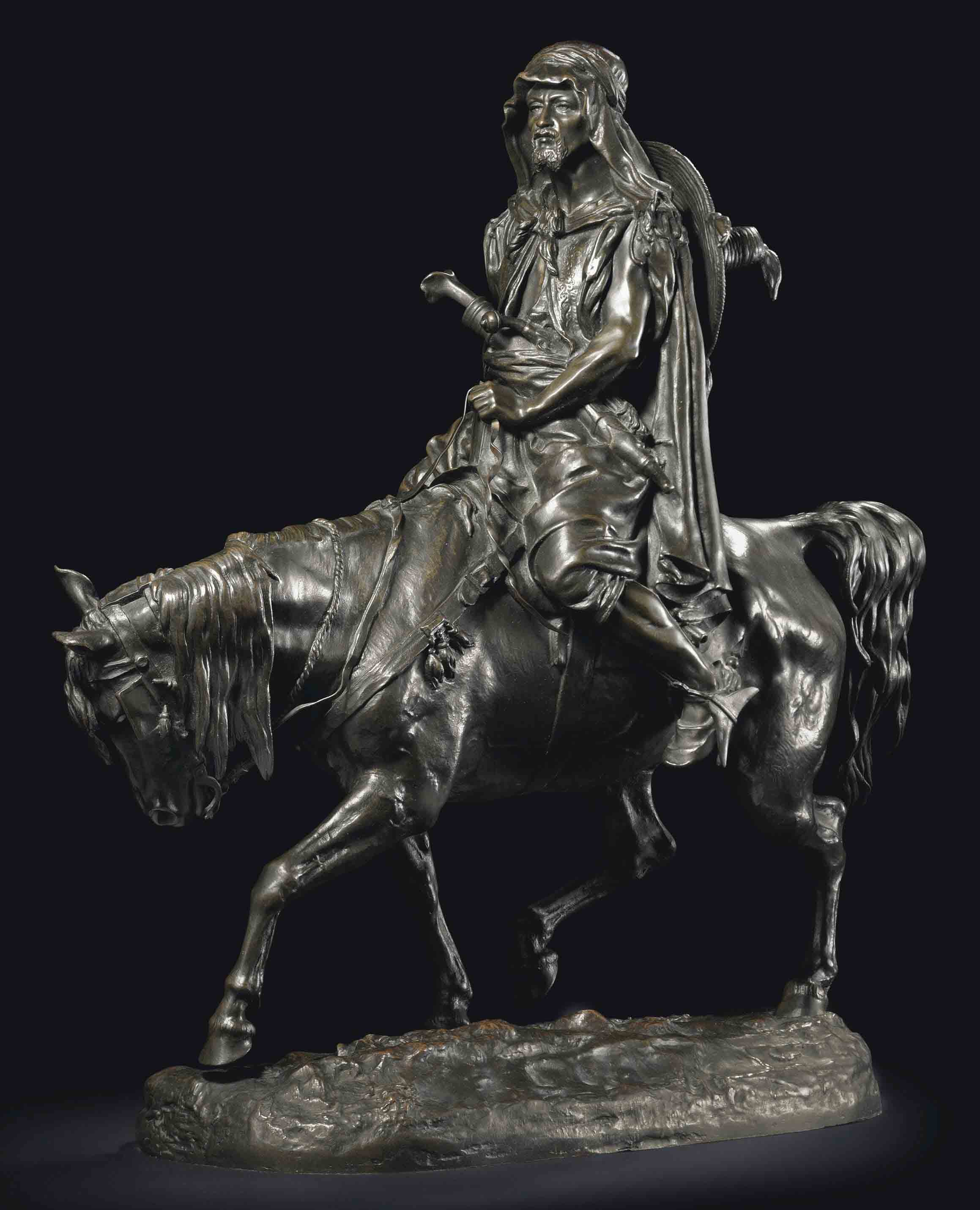 A Bronze Group of an Arab Rider