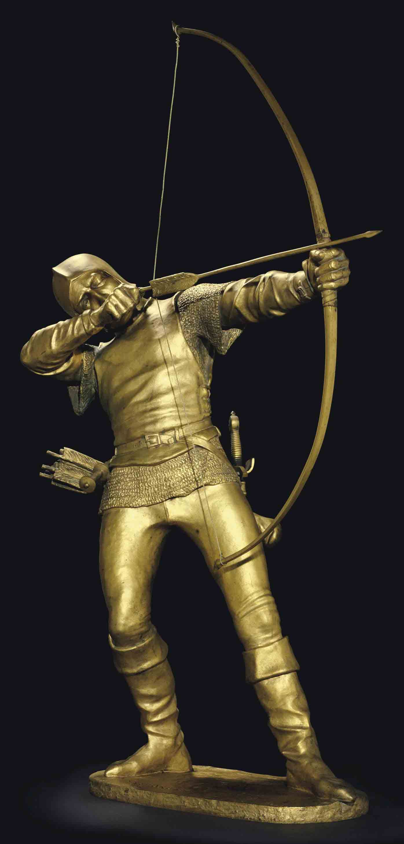 A Gilt Bronze Figure of an Archer