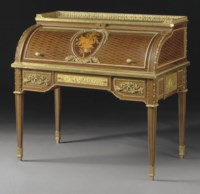 A FRENCH ORMOLU-MOUNTED AMARANTH, SYCAMORE, MARQUETRY AND PARQUETRY BUREAU A CYLINDRE