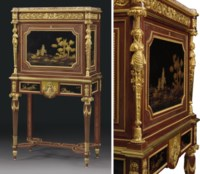 A FRENCH ORMOLU-MOUNTED AMARANTH, BURR-WALNUT, SYCAMORE, EBONY, JAPANESE LACQUER AND AVENTURINE SECRETAIRE A ABATTANT
