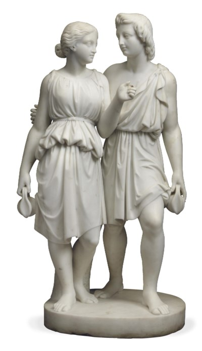 A CONTINENTAL MARBLE FIGURAL G