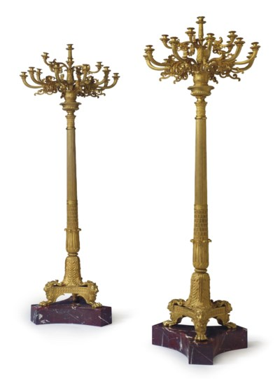 A PAIR OF LARGE ORMOLU AND ROU