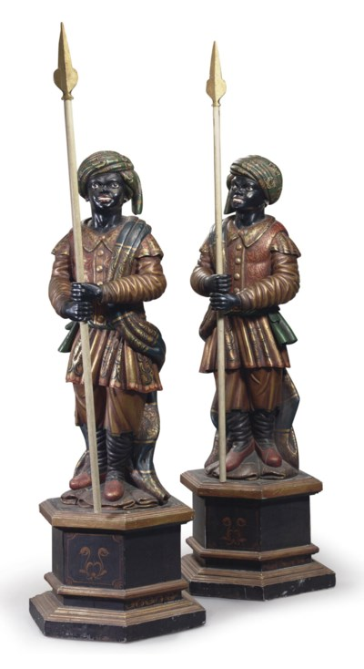 A PAIR OF POLYCHROME DECORATED