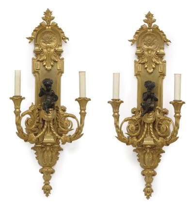 A PAIR OF FRENCH ORMOLU AND PA