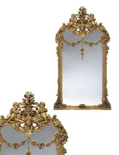 A PAIR OF MONUMENTAL GILTWOOD