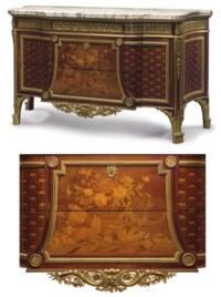 A FRENCH ORMOLU-MOUNTED AMARANTH, SYCAMORE, MARQUETRY AND PARQUETRY COMMODE A VANTAUX