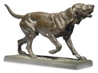 A FRENCH PATINATED BRONZE STUDY OF A HOUND
