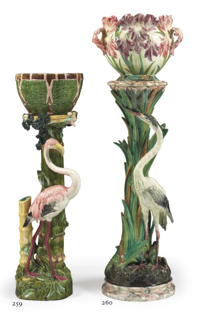 A FRENCH MAJOLICA HERON PEDEST