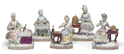 FIVE MEISSEN PORCELAIN FIGURES