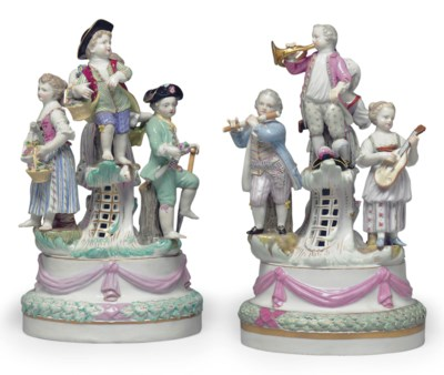 TWO MEISSEN PORCELAIN REVELRY