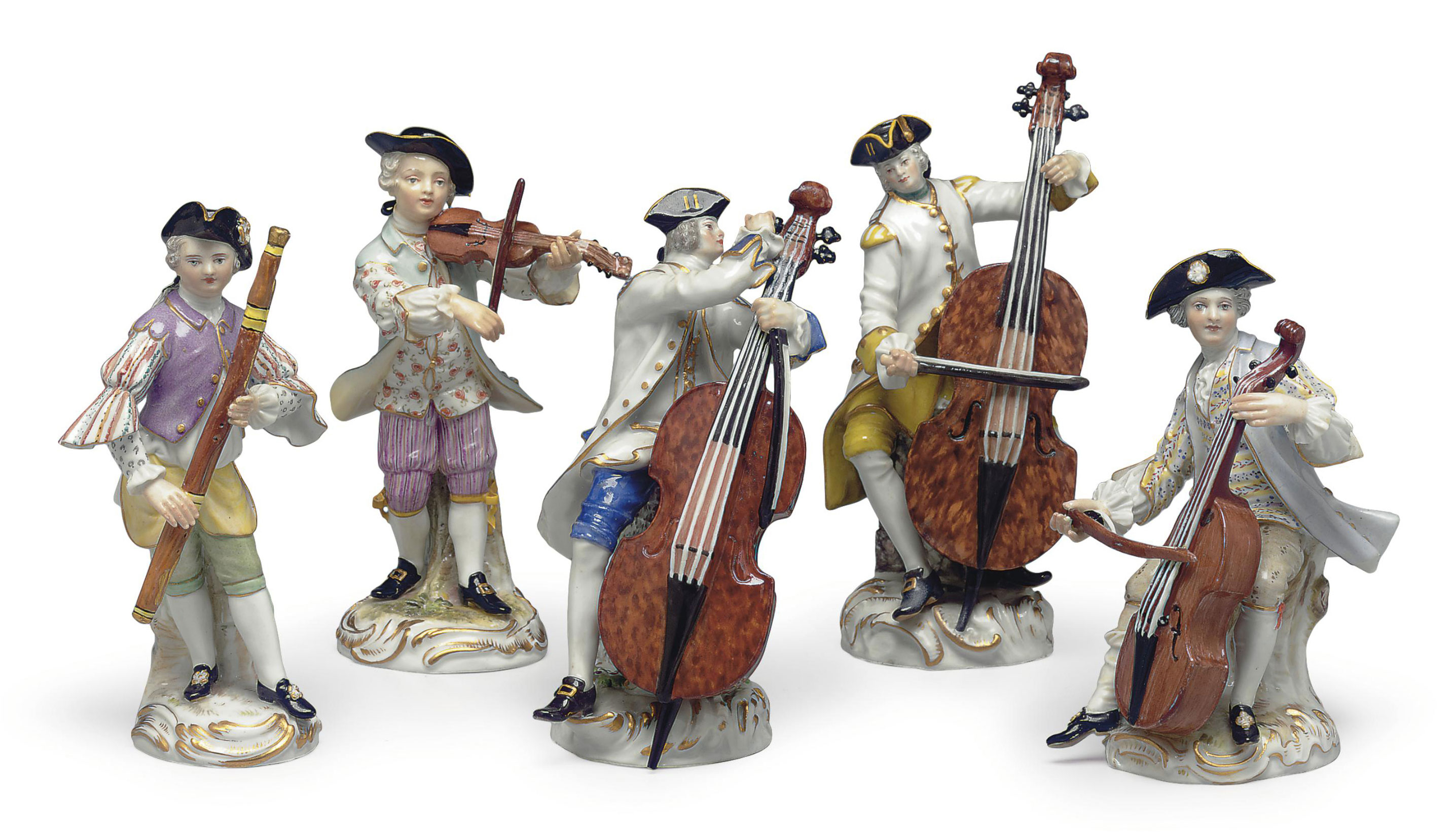 A GROUP OF FIVE MEISSEN PORCEL