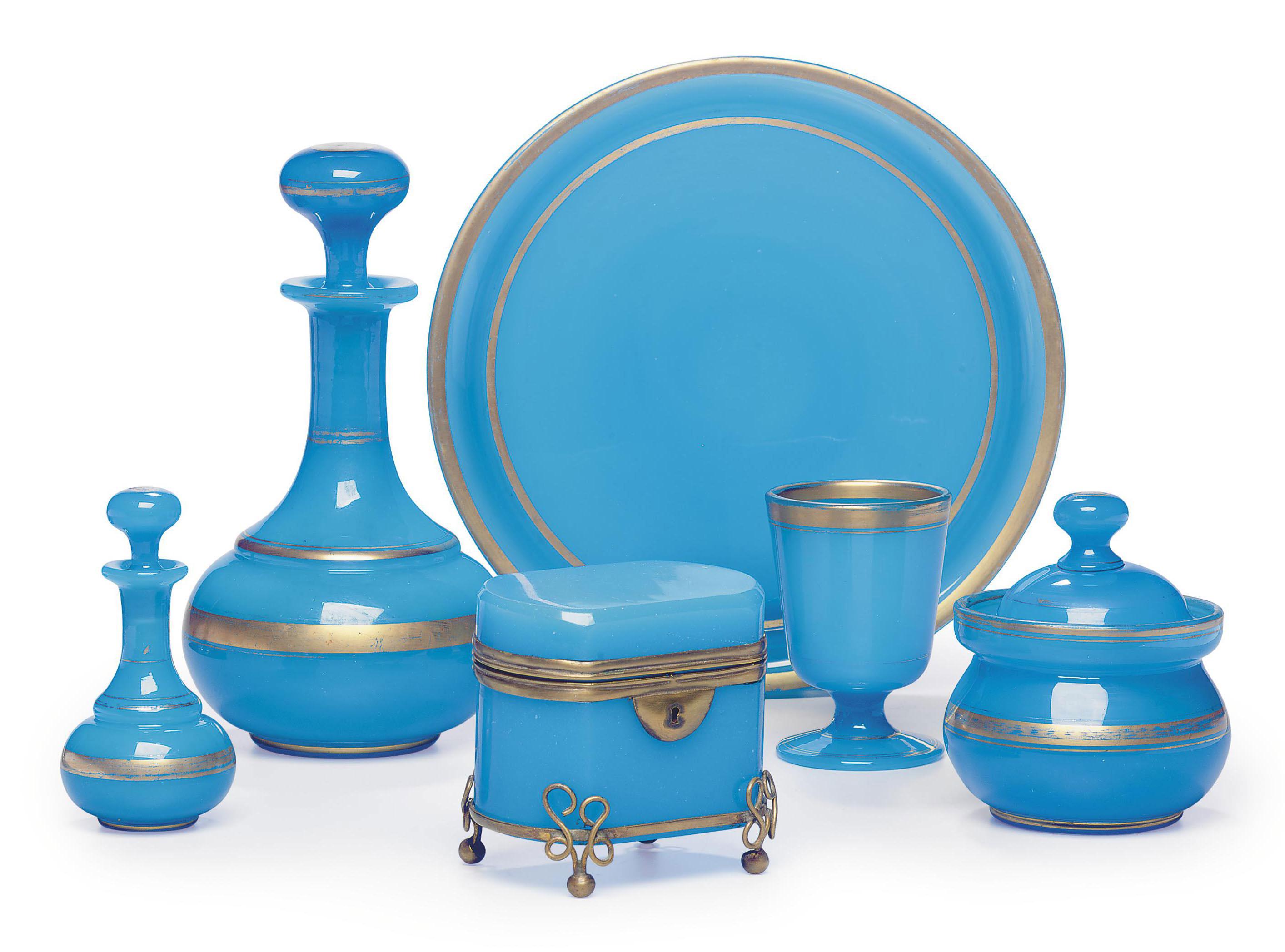 A FRENCH BLUE OPALINE GLASS WA