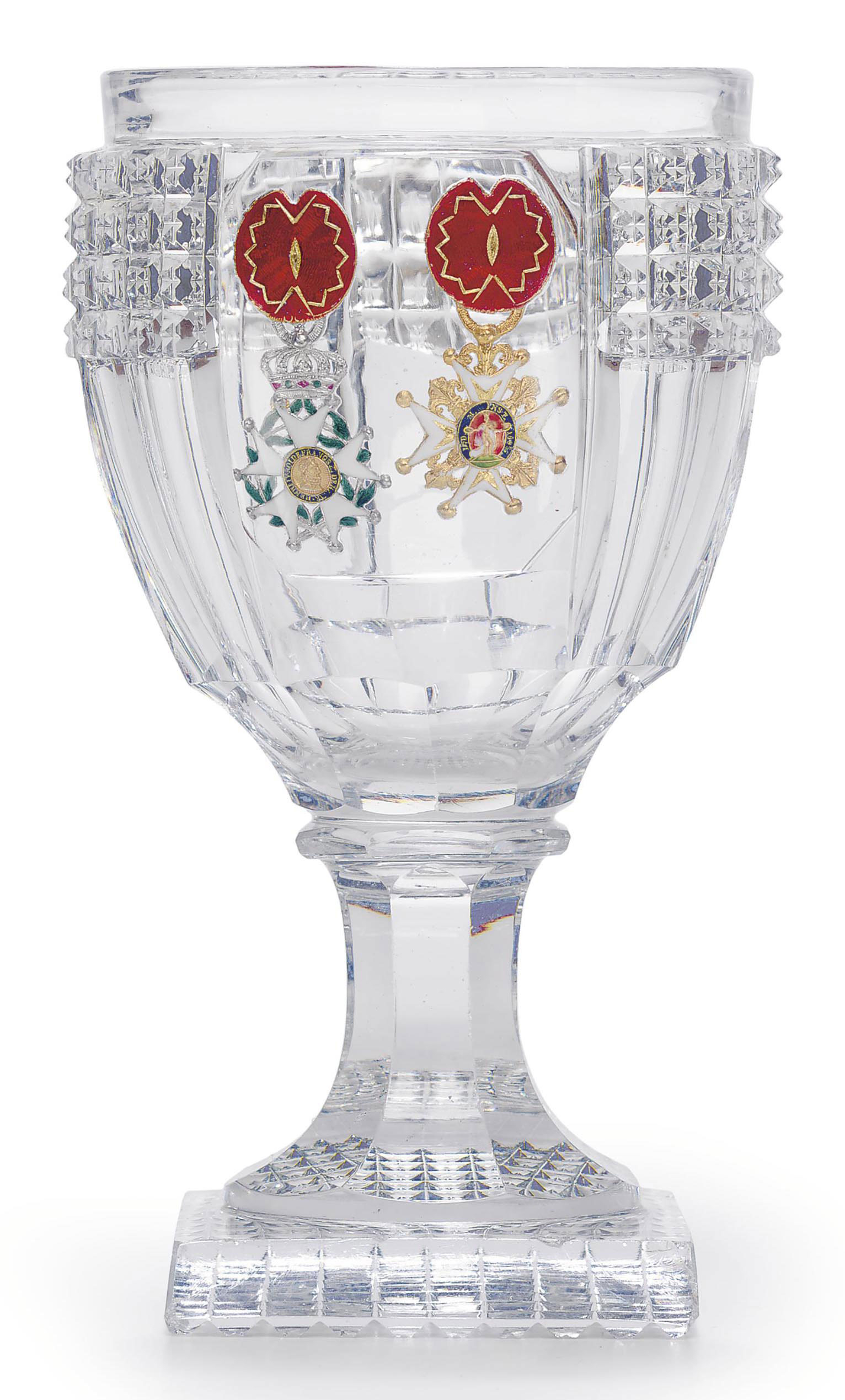A BACCARAT MOLDED AND CUT GLAS
