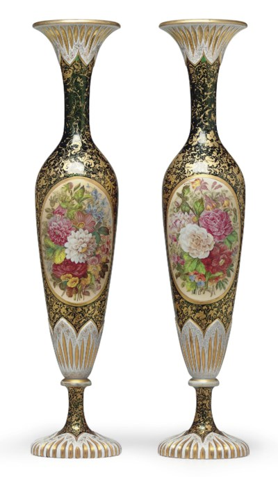 A PAIR OF BOHEMIAN TRANSLUCENT