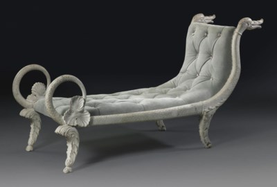 A FRENCH WHITE PAINTED CHAISE