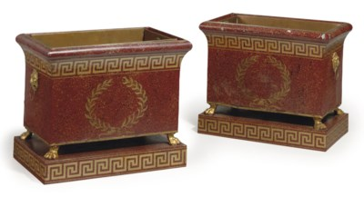 A PAIR OF FRENCH FAUX MARBLE A