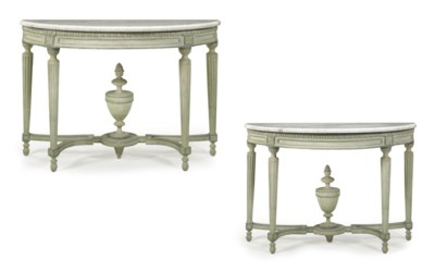 A PAIR OF FRENCH PALE GREEN AN