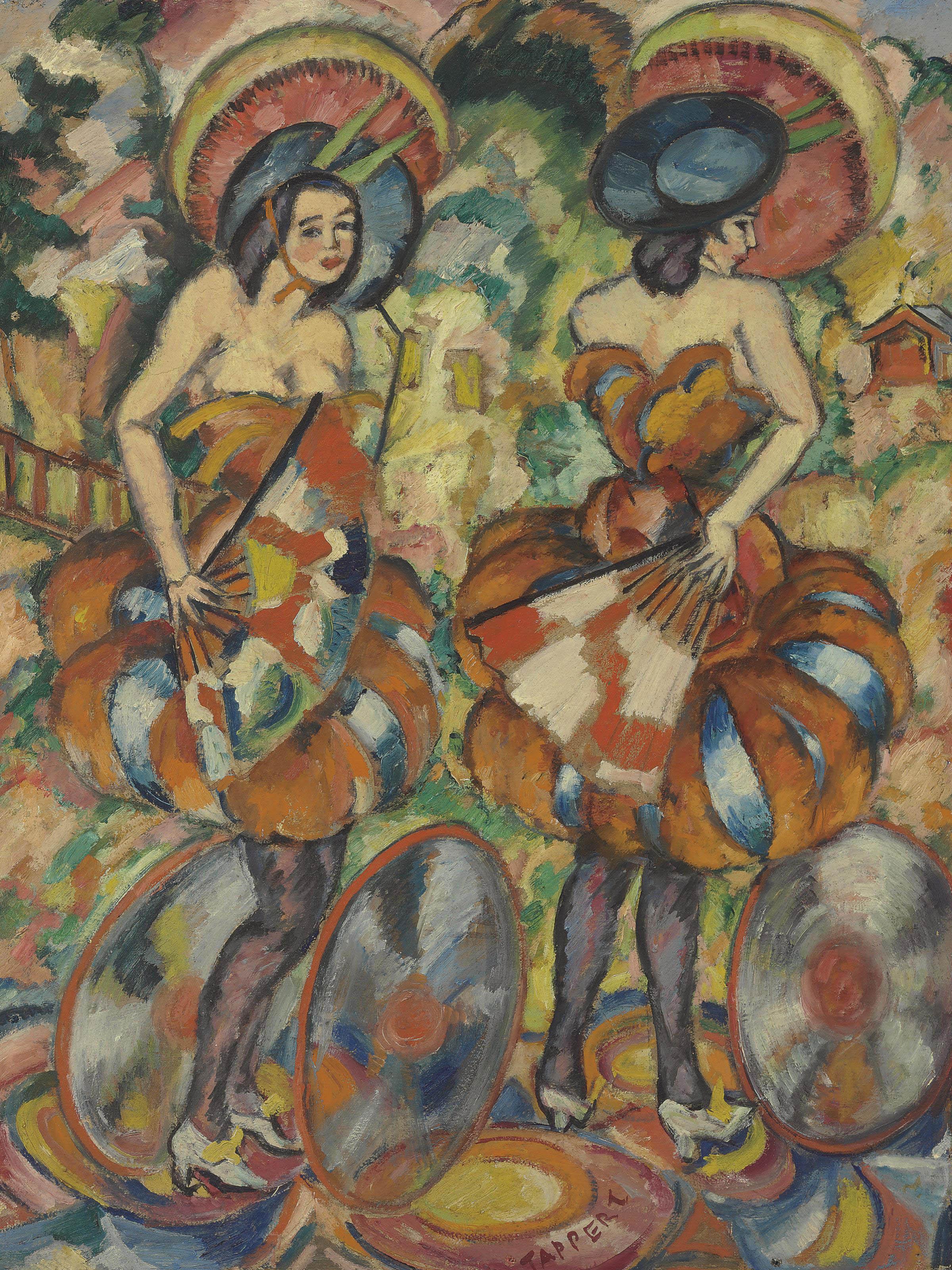 Zwei Tänzerinnen mit Fächern