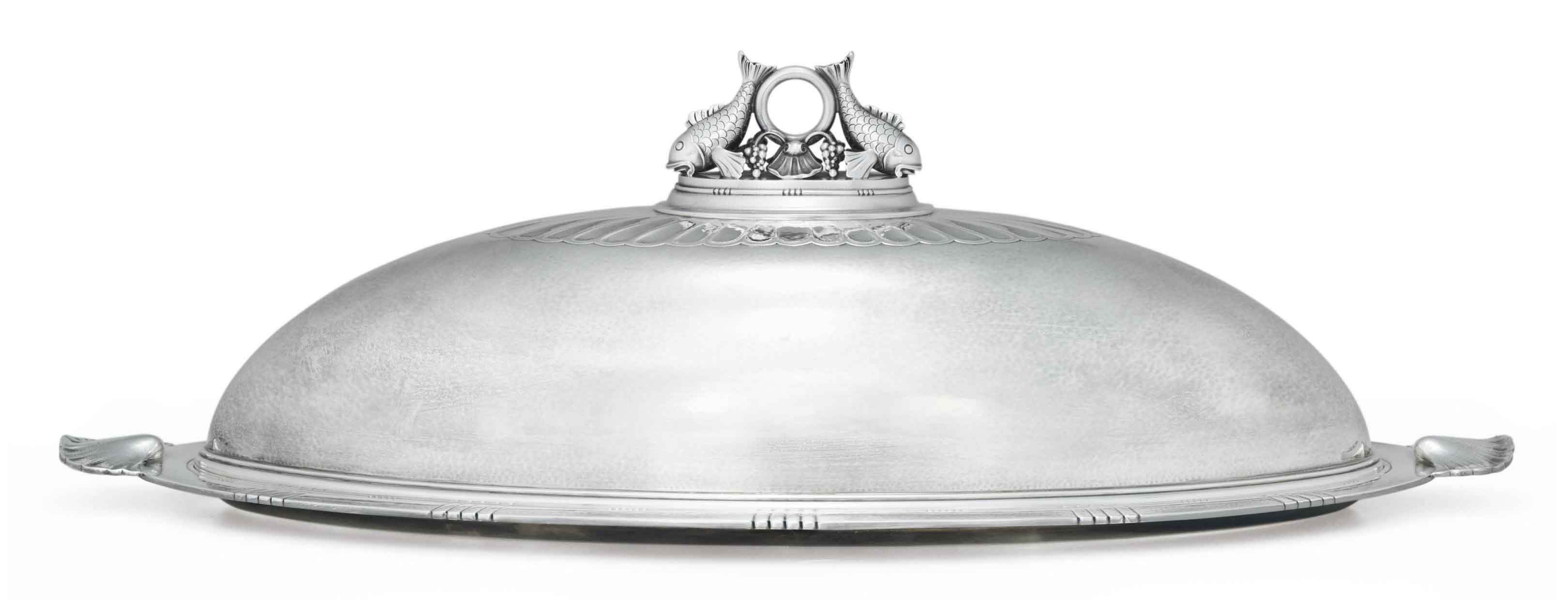 A DANISH SILVER FISH DISH, COVER AND MAZARINE, DESIGNED BY JOHAN ROHDE