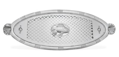 A DANISH SILVER FISH DISH, COV