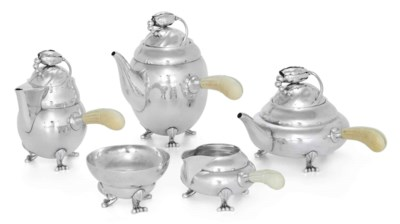 A DANISH SILVER FIVE-PIECE TEA