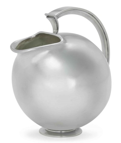 A DANISH SILVER WATER PITCHER,