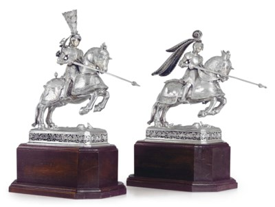 A PAIR OF GERMAN SILVER KNIGHT
