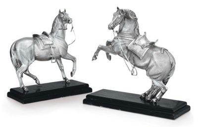 A PAIR OF SILVER FIGURES OF HO