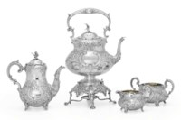AN ASSEMBLED VICTORIAN SILVER FOUR-PIECE COFFEE SERVICE**