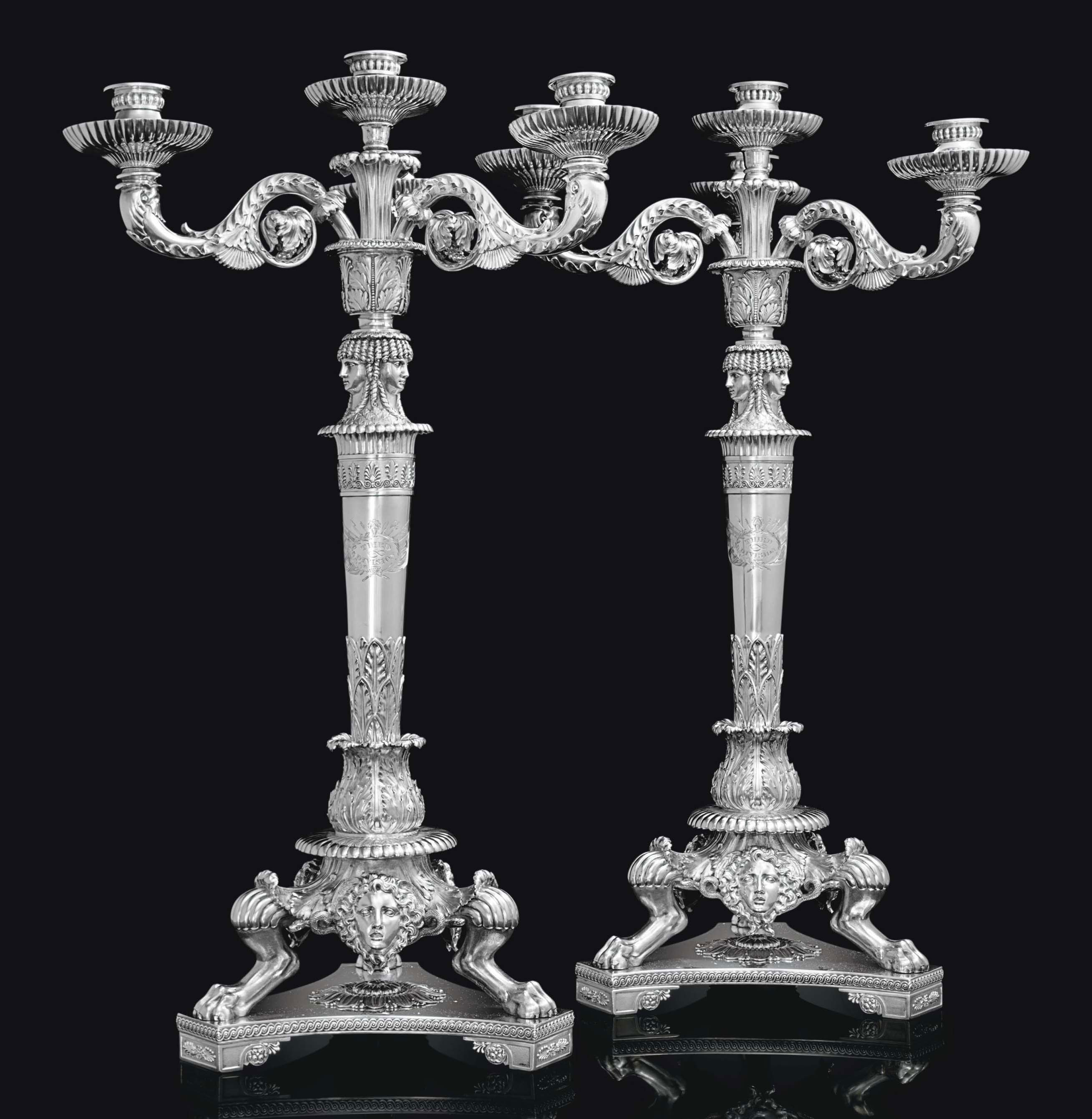 AN IMPORTANT PAIR OF REGENCY SILVER FOUR-LIGHT CANDELABRA FROM THE PICTON SERVICE