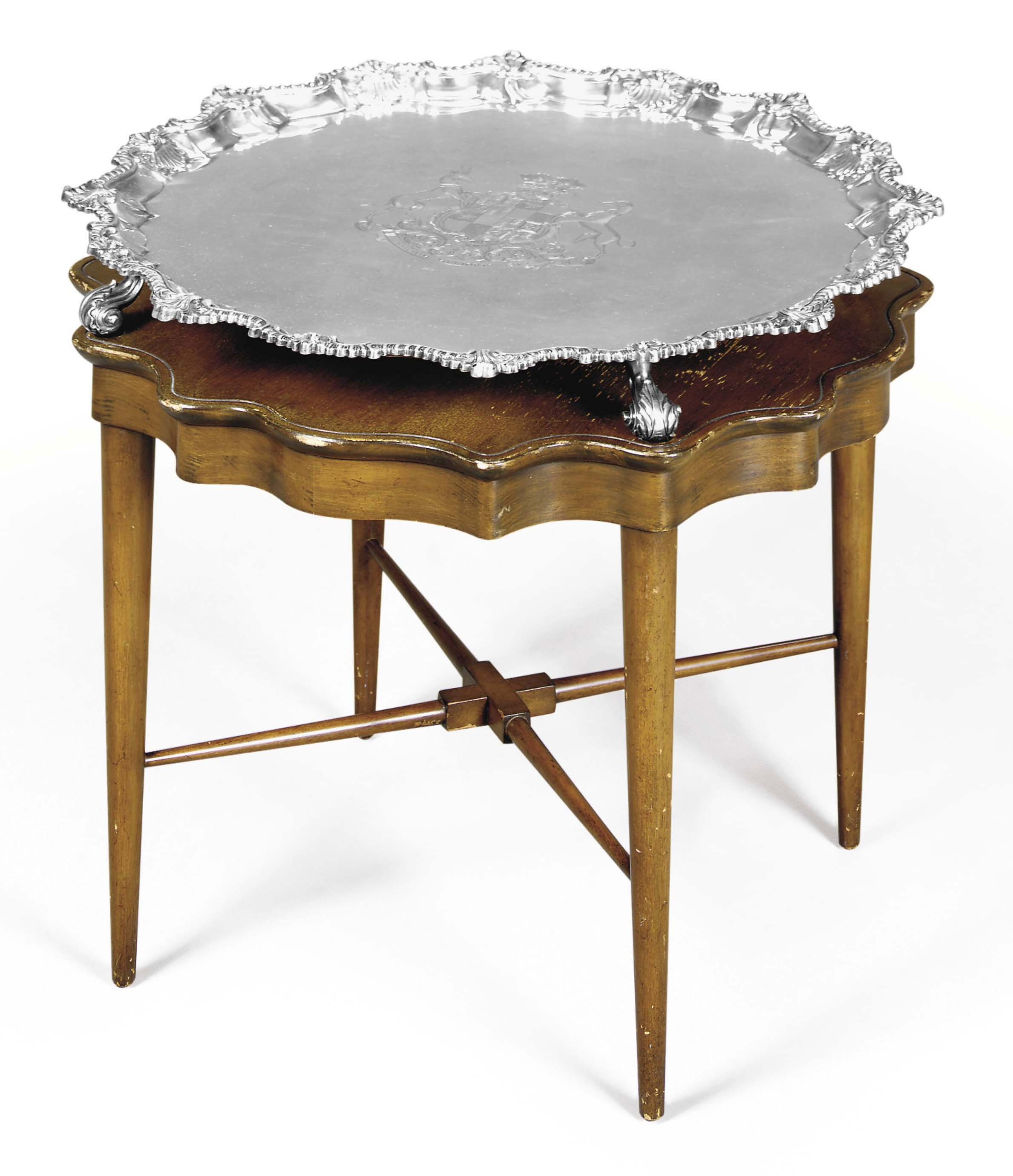 A LARGE GEORGE III SILVER SALVER, FITTED AS A TABLE