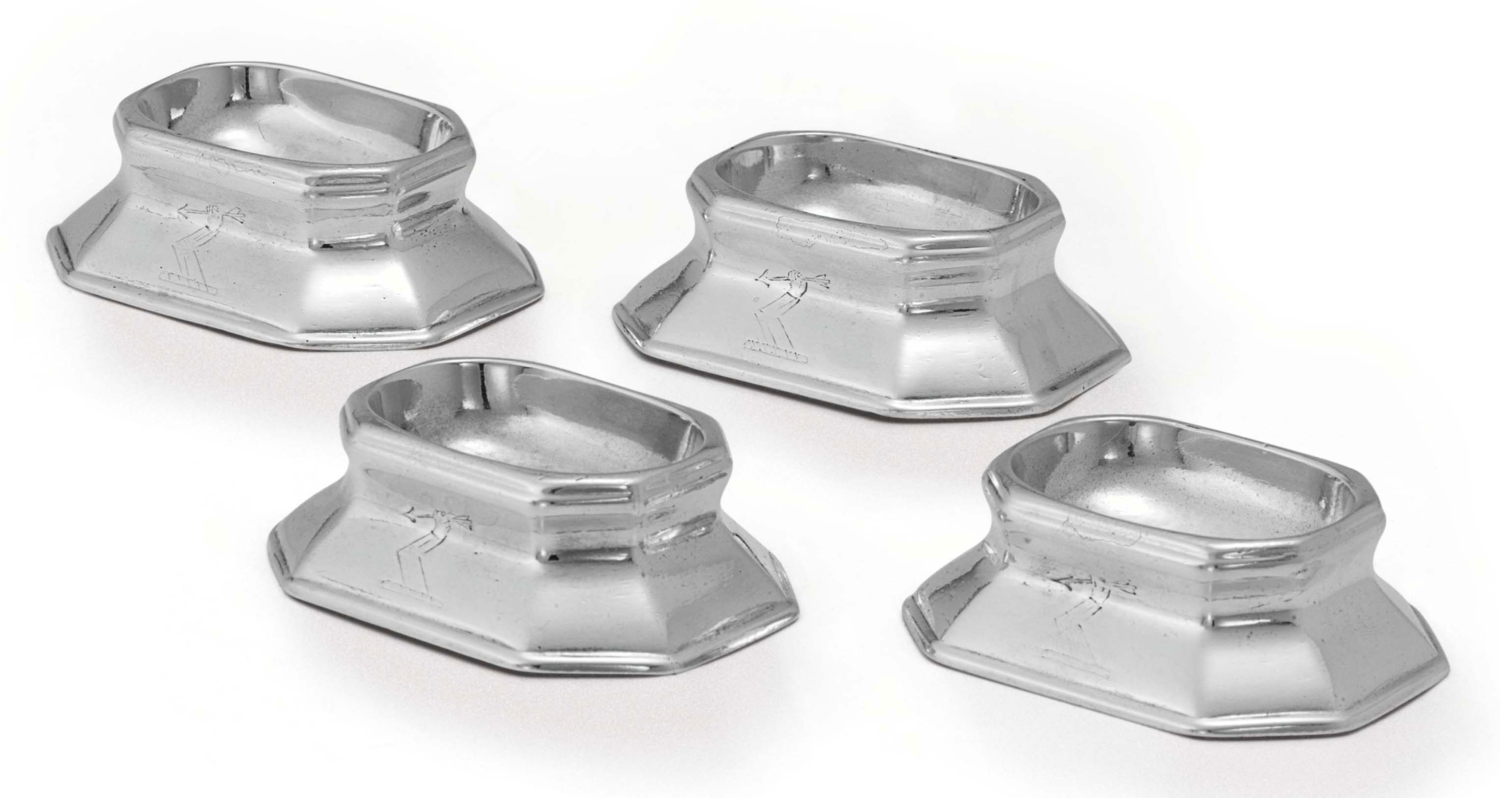 A SET OF FOUR GEORGE I SILVER TRENCHER SALTS