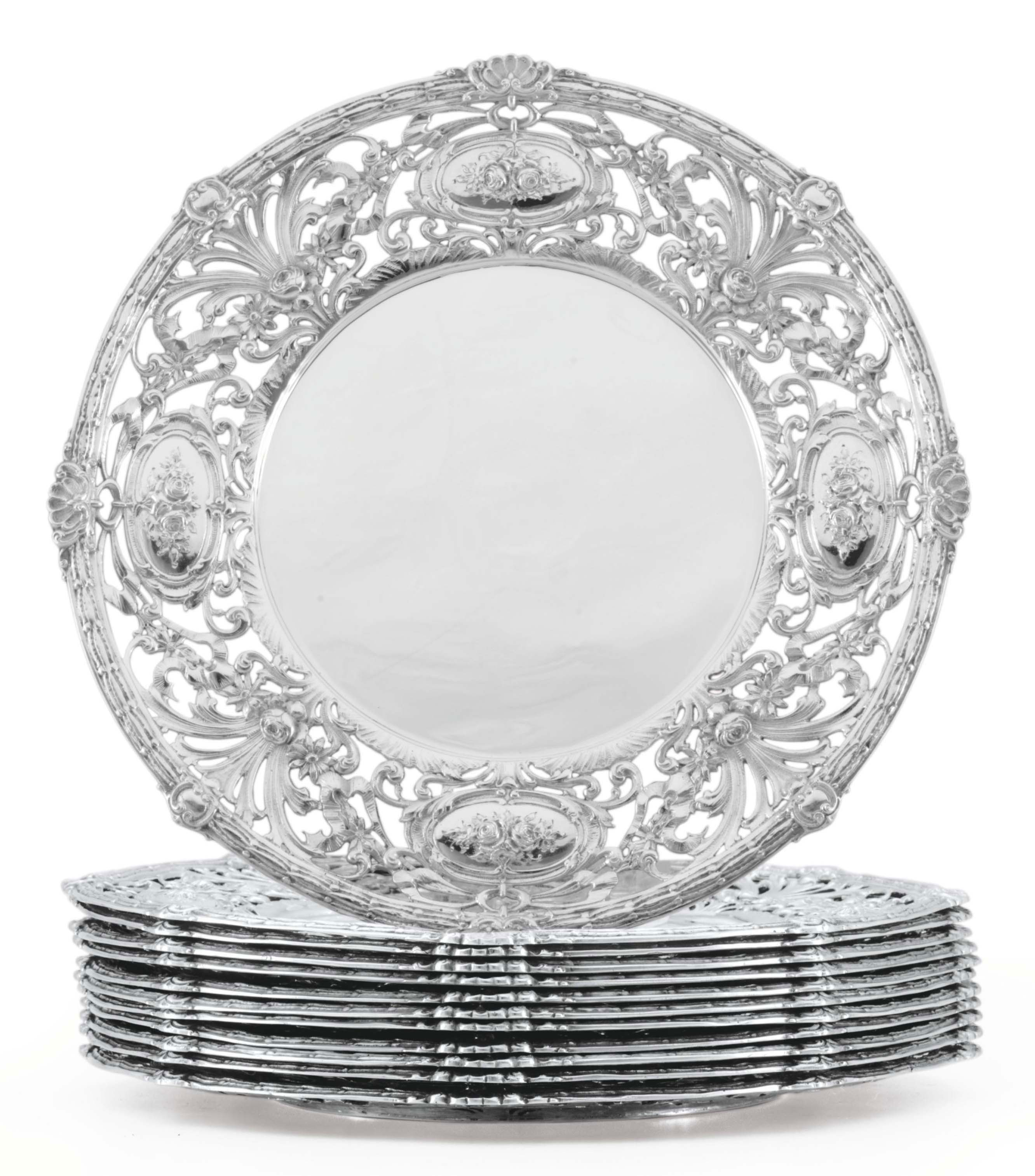 A SET OF TWELVE AMERICAN SILVER SERVICE PLATES