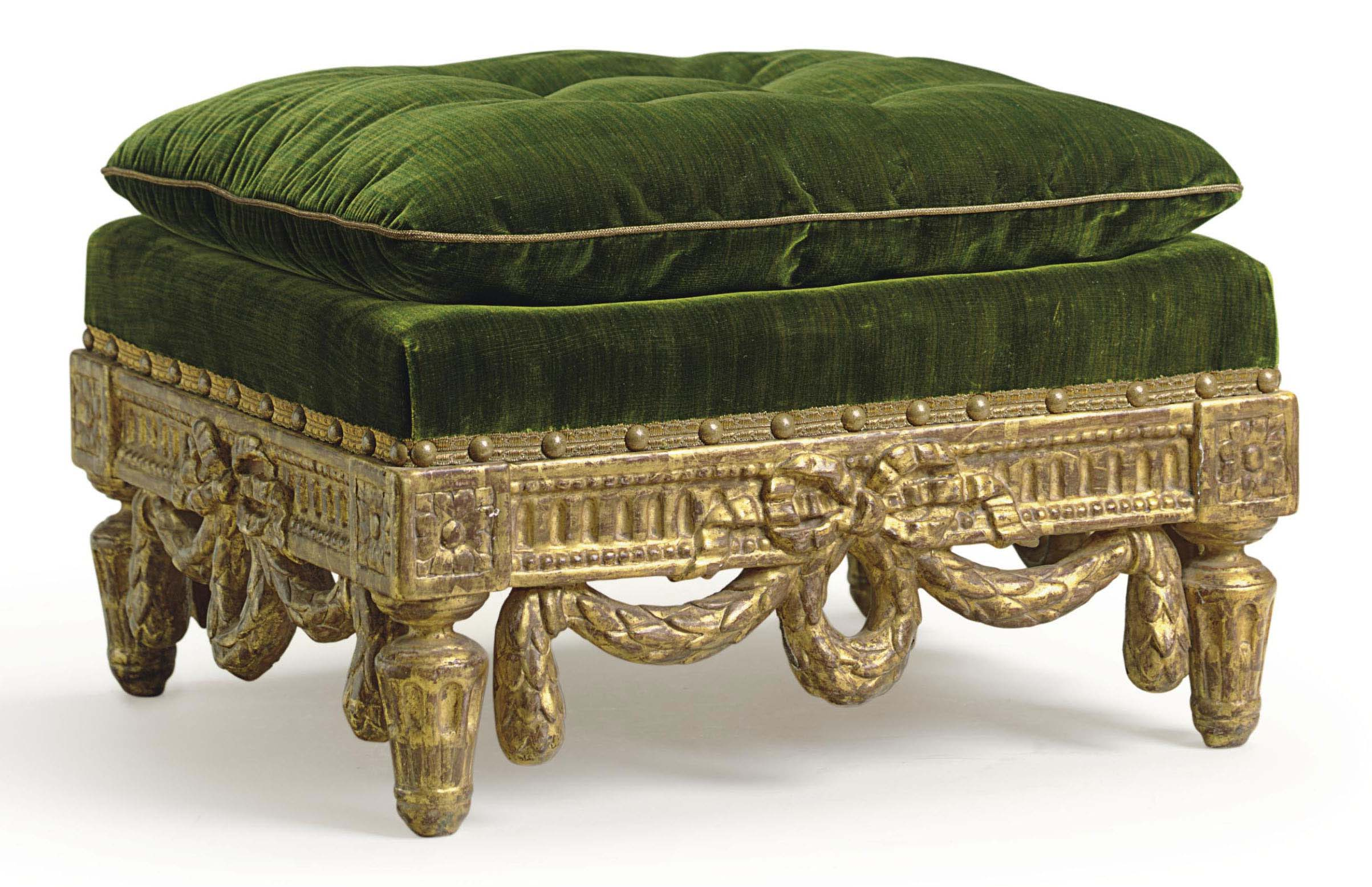 A LATE LOUIS XV GILTWOOD TABOURET