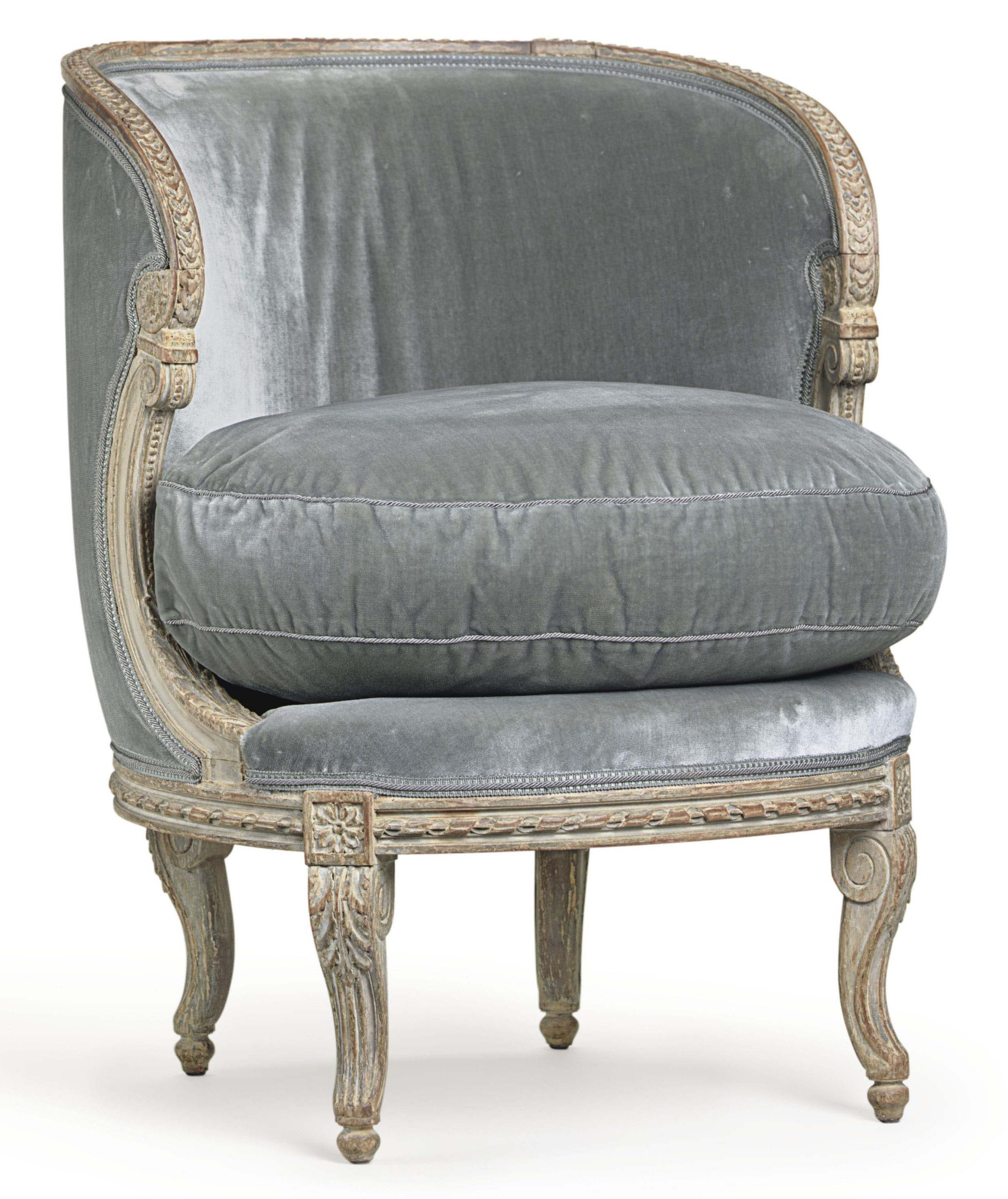 A FRENCH GREY-PAINTED BERGERE