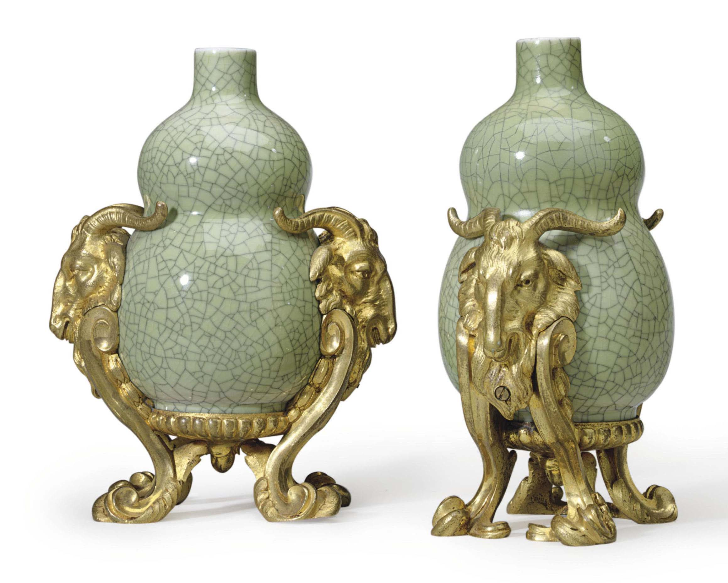 A PAIR OF FRENCH ORMOLU-MOUNTED GREEN CRACKLE-GLAZED PORCELAIN DOUBLE-GOURD VASES
