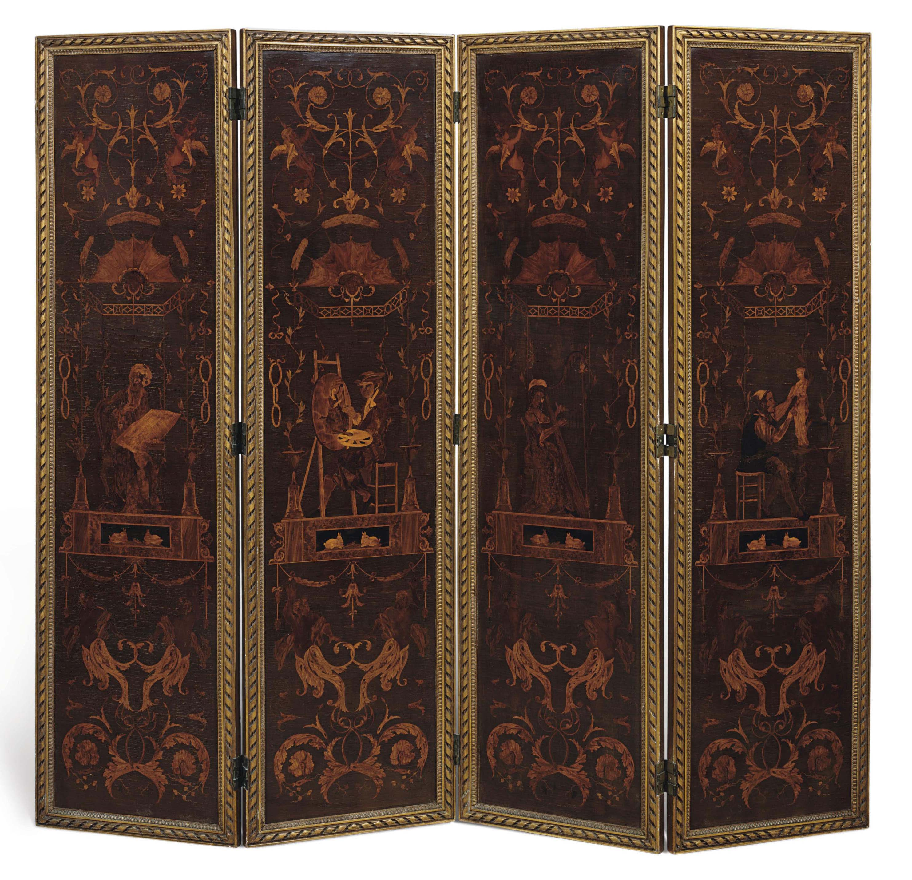 A CONTINENTAL SYCAMORE AND MARQUETRY FOUR-PANEL SCREEN