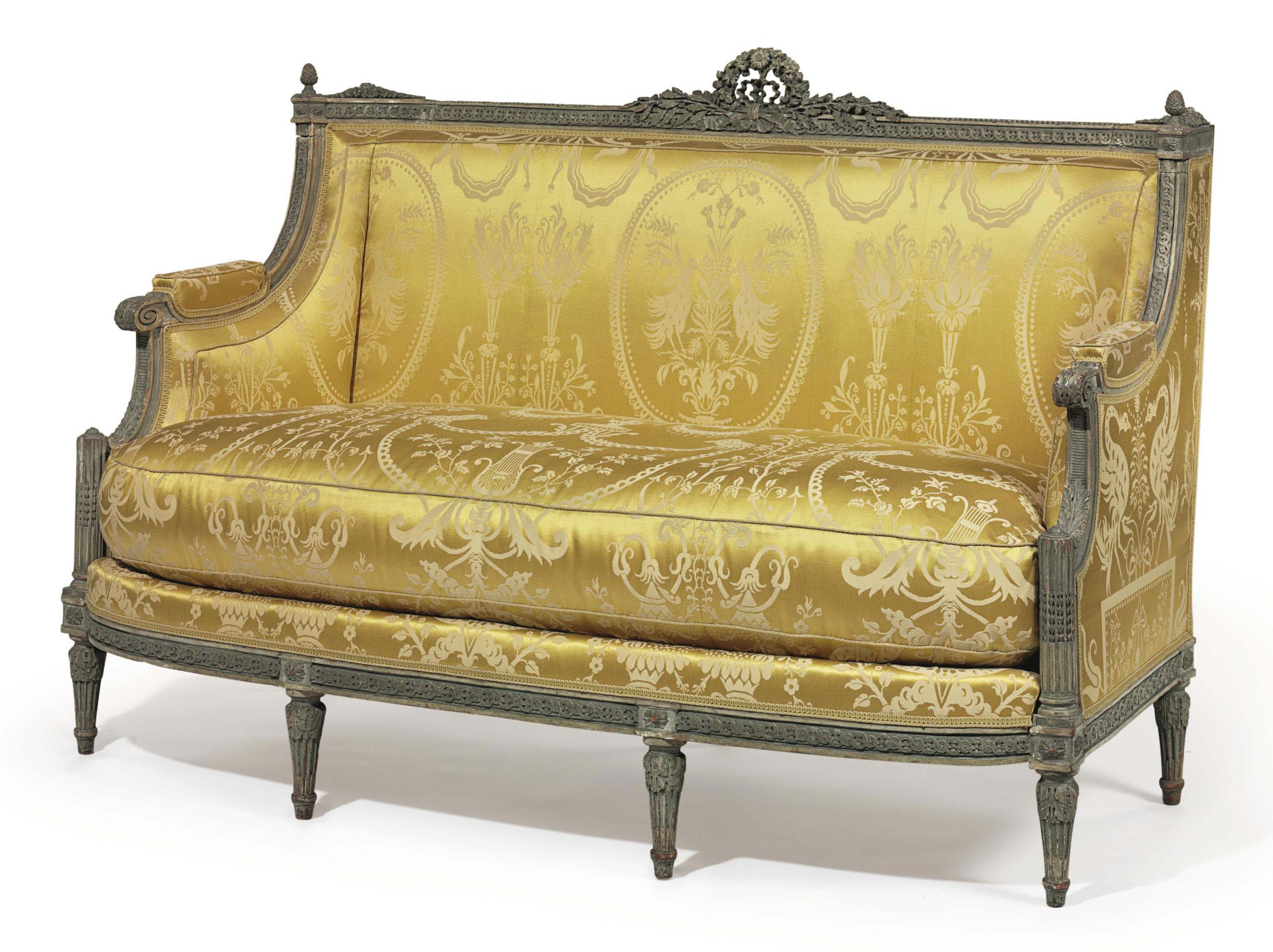 a louis xvi grey painted canape by jean baptiste bernard. Black Bedroom Furniture Sets. Home Design Ideas