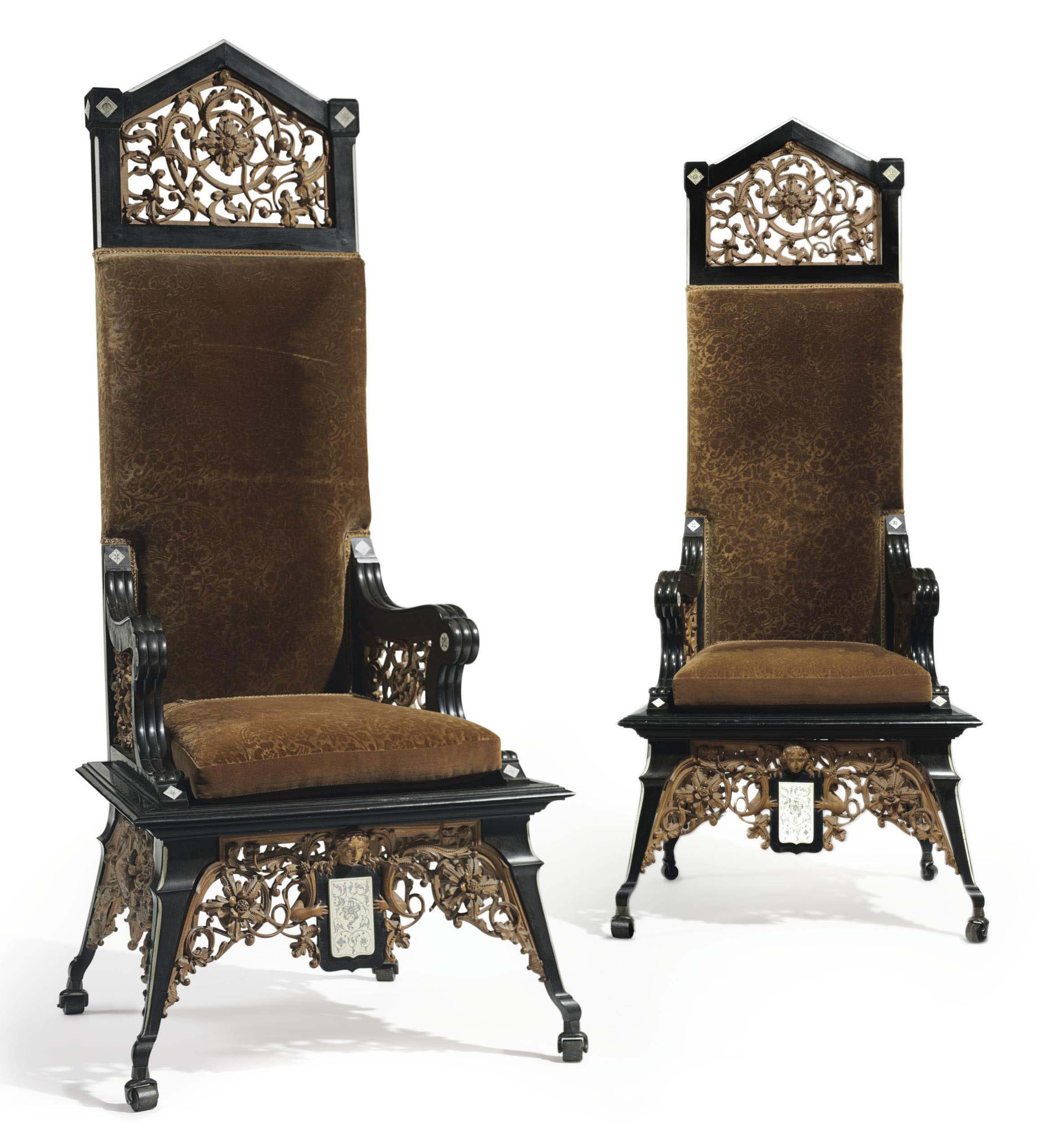A PAIR OF ITALIAN EBONY, ETCHED IVORY AND CARVED LIMEWOOD ARMCHAIRS