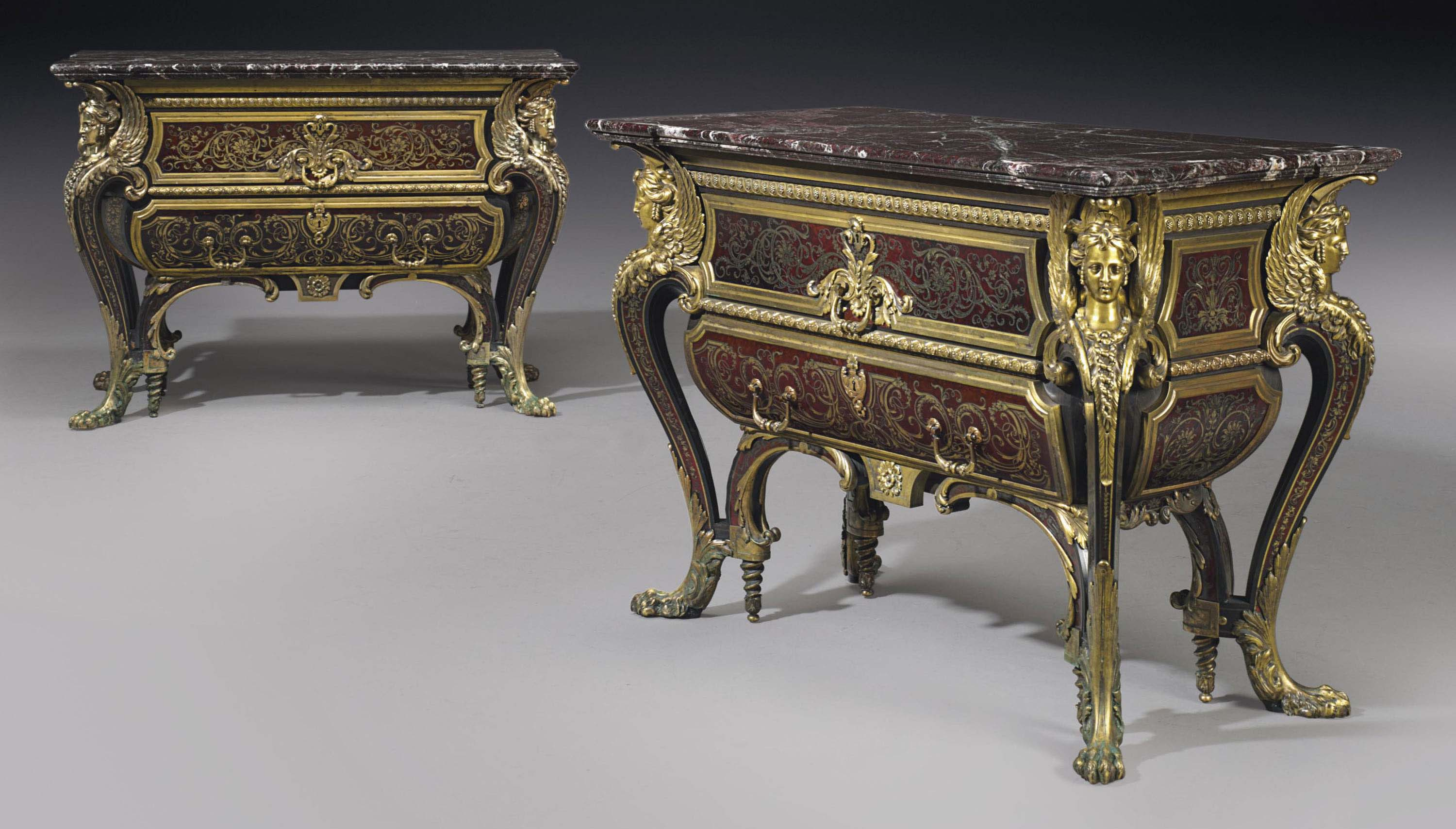 A FINE PAIR OF NAPOLEON III ORMOLU-MOUNTED CUT-BRASS, RED TORTOISESHELL-INLAID AND EBONY 'BOULLE' COMMODES