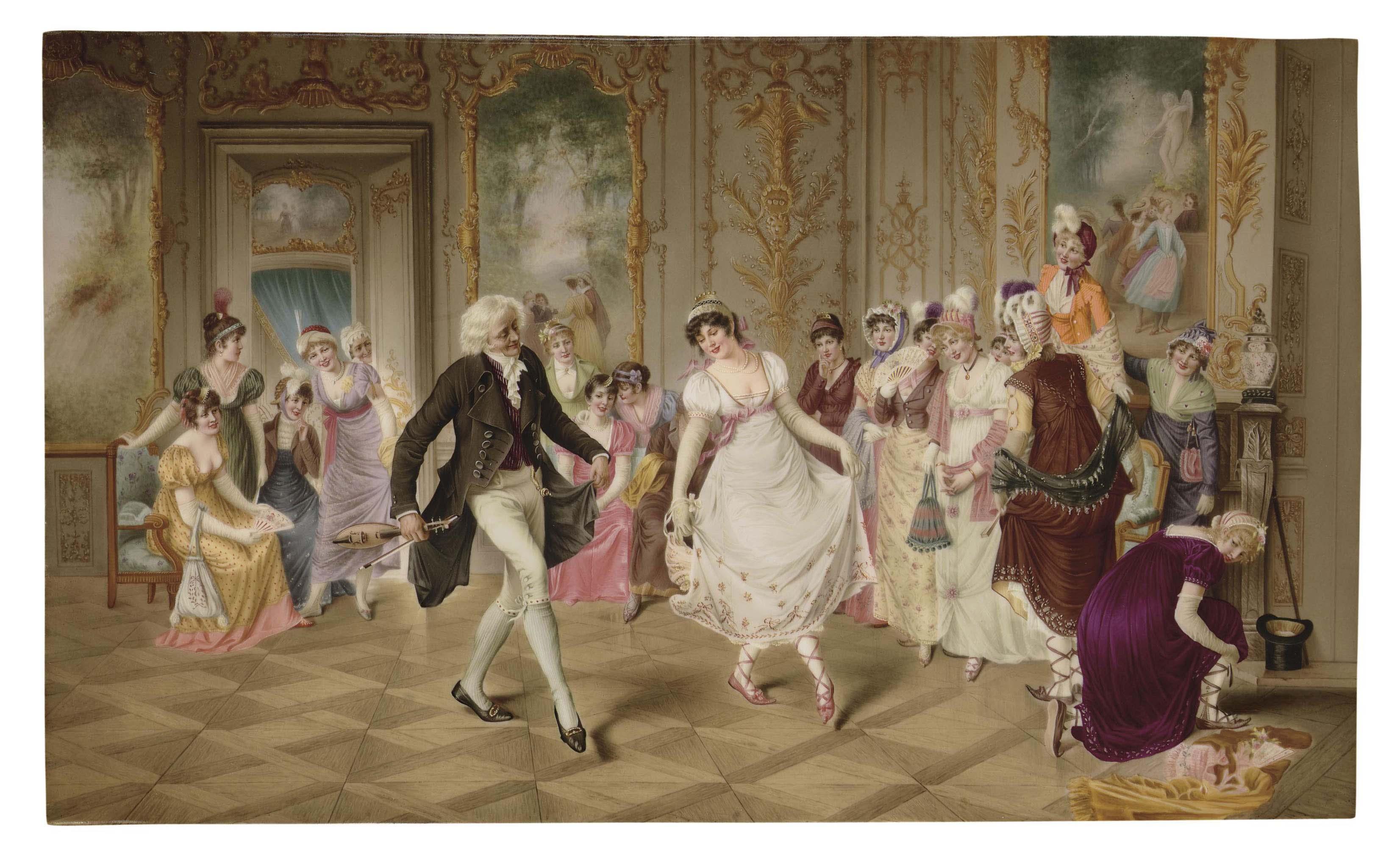 A BERLIN (K P M ) PORCELAIN RECTANGULAR PLAQUE, THE DANCING