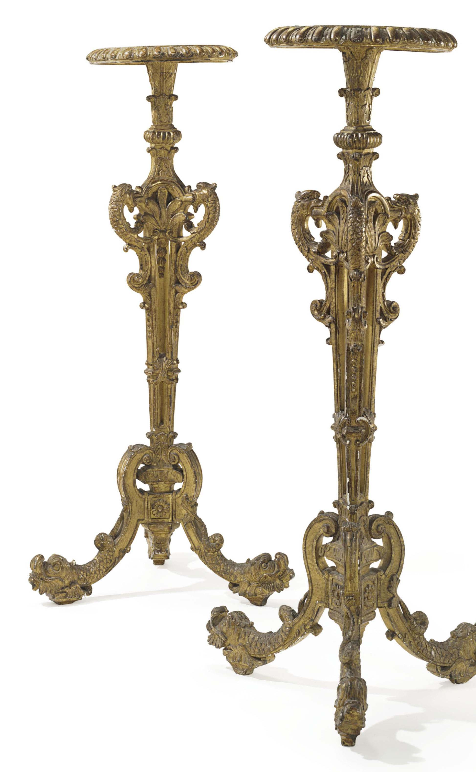 A PAIR OF FRENCH GILTWOOD TORCHERES