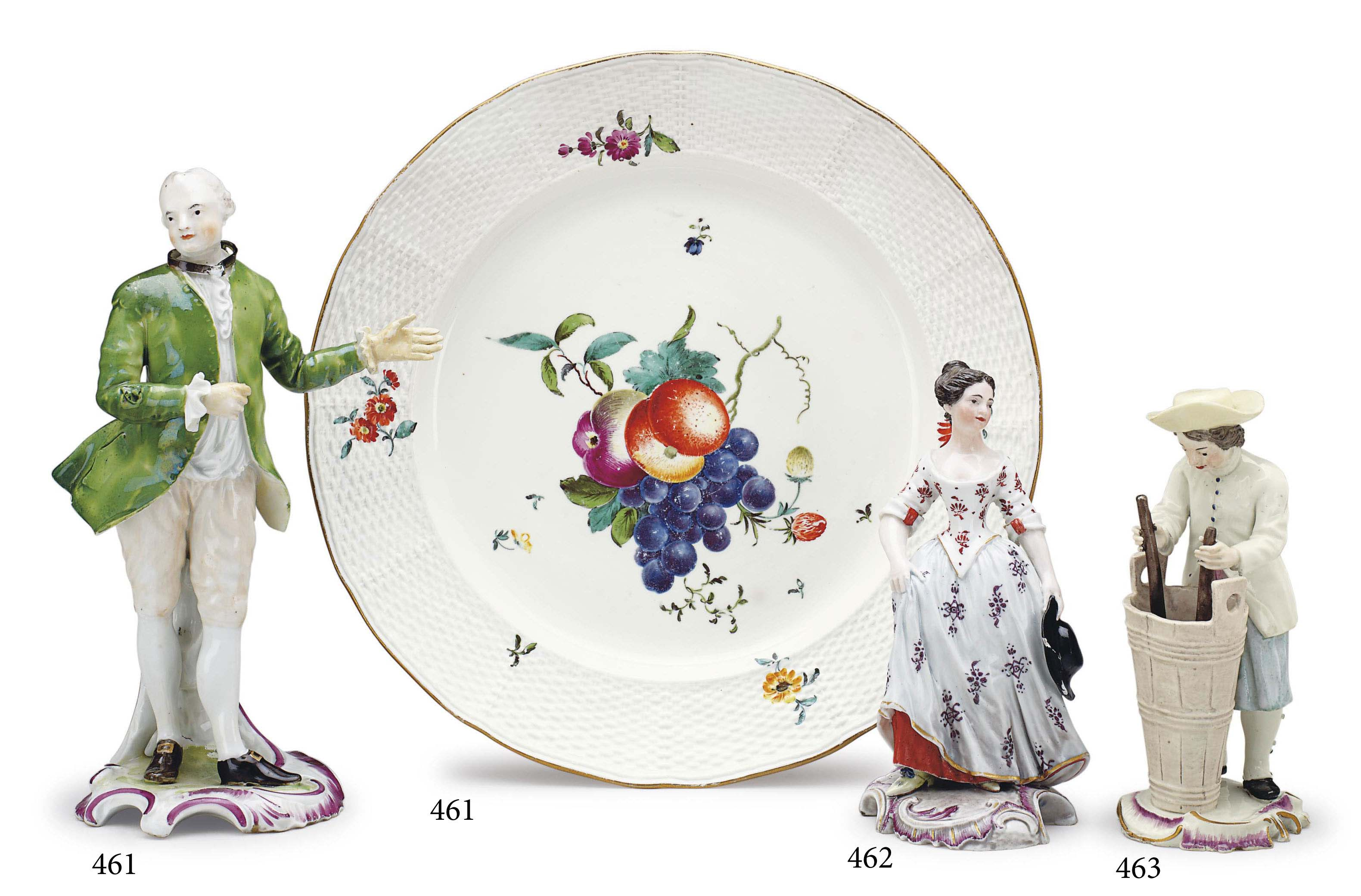 A FRANKENTHAL PORCELAIN FIGURE OF A GALLANT AND A PLATE