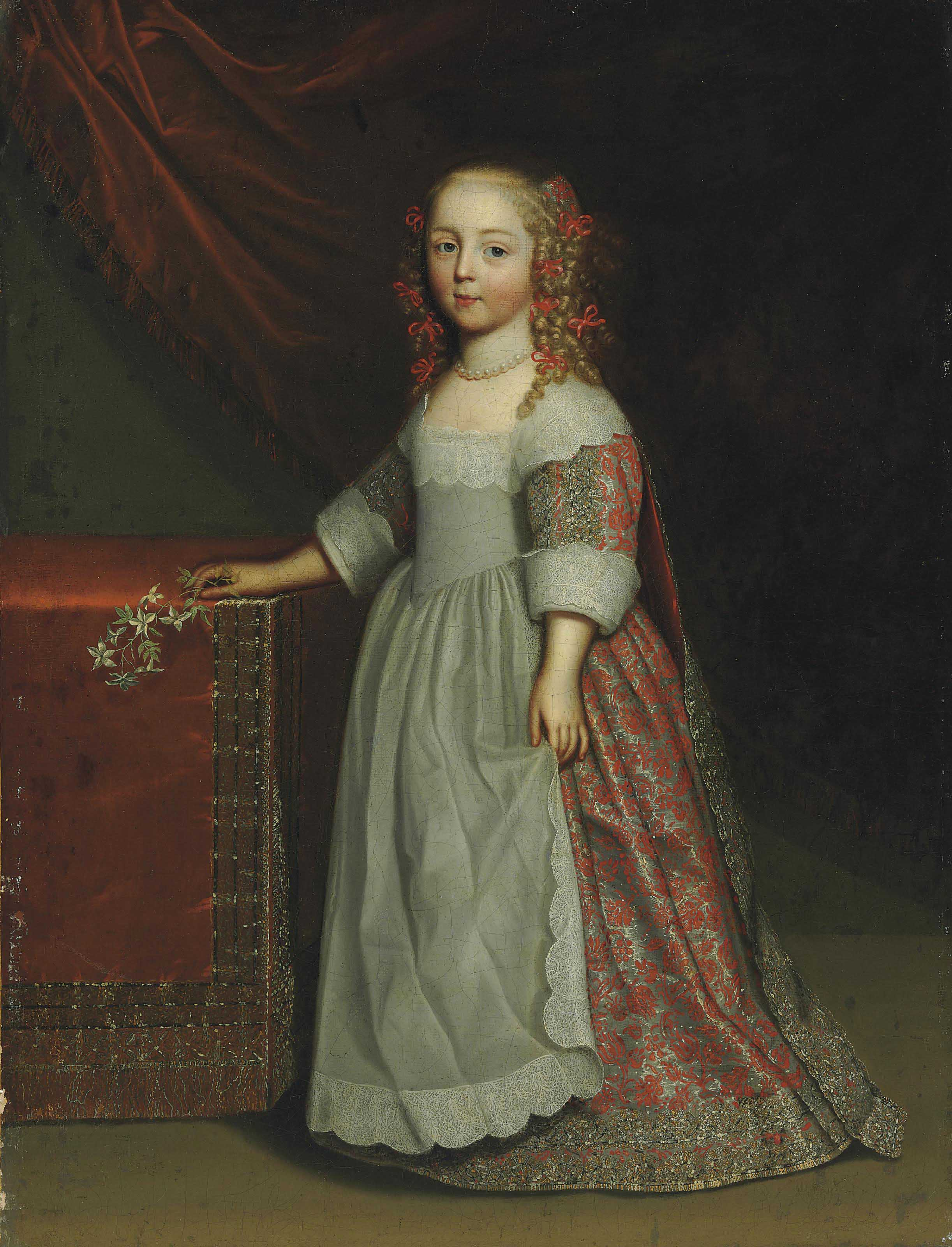 Portrait of a girl, full-length, in an embroidered silk dress