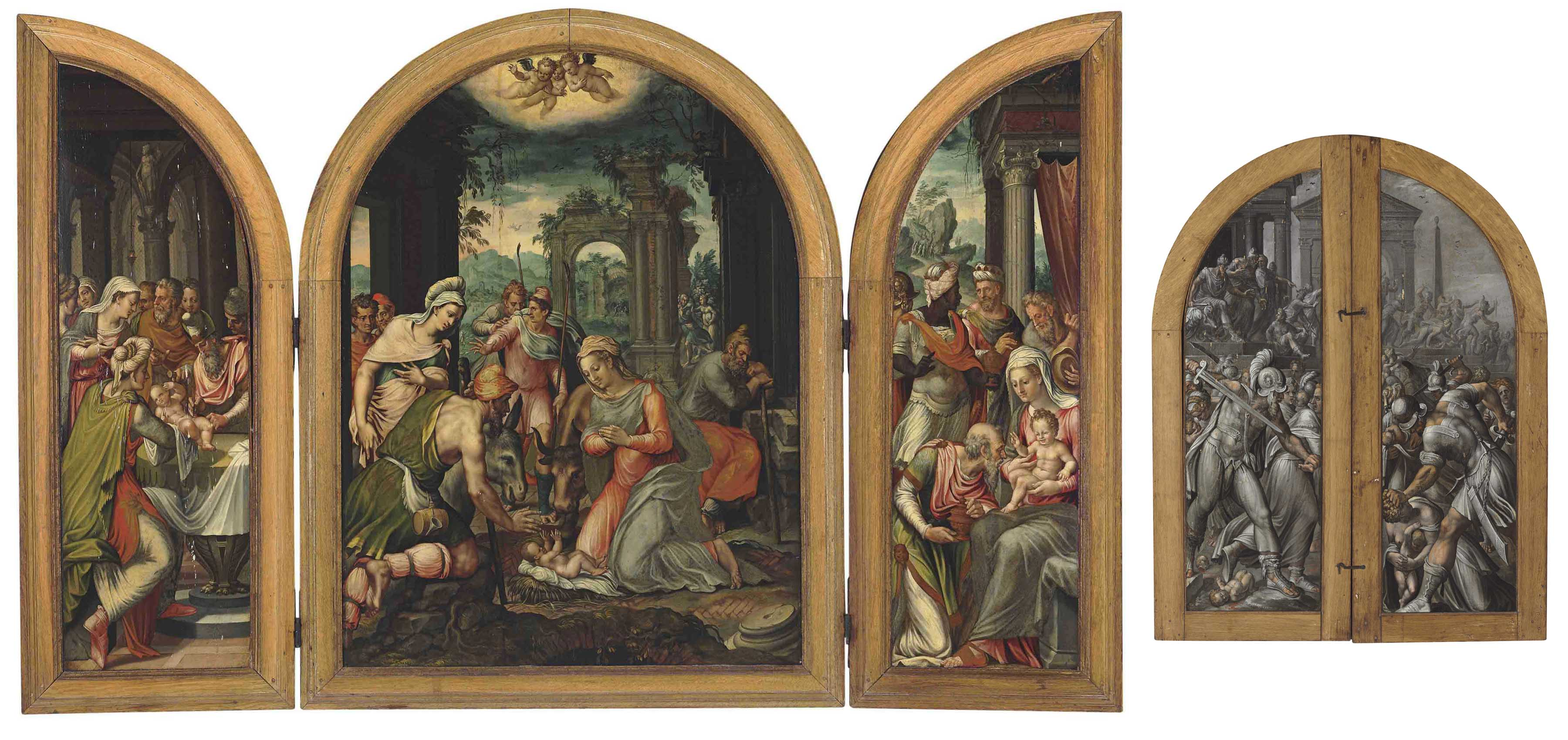 A triptych of The Adoration of the Shepherds; The Circumcision on the left wing; The Adoration of the Magi on the right wing; and The Massacre of the Innocents, en grisaille, on the reverse of the wings