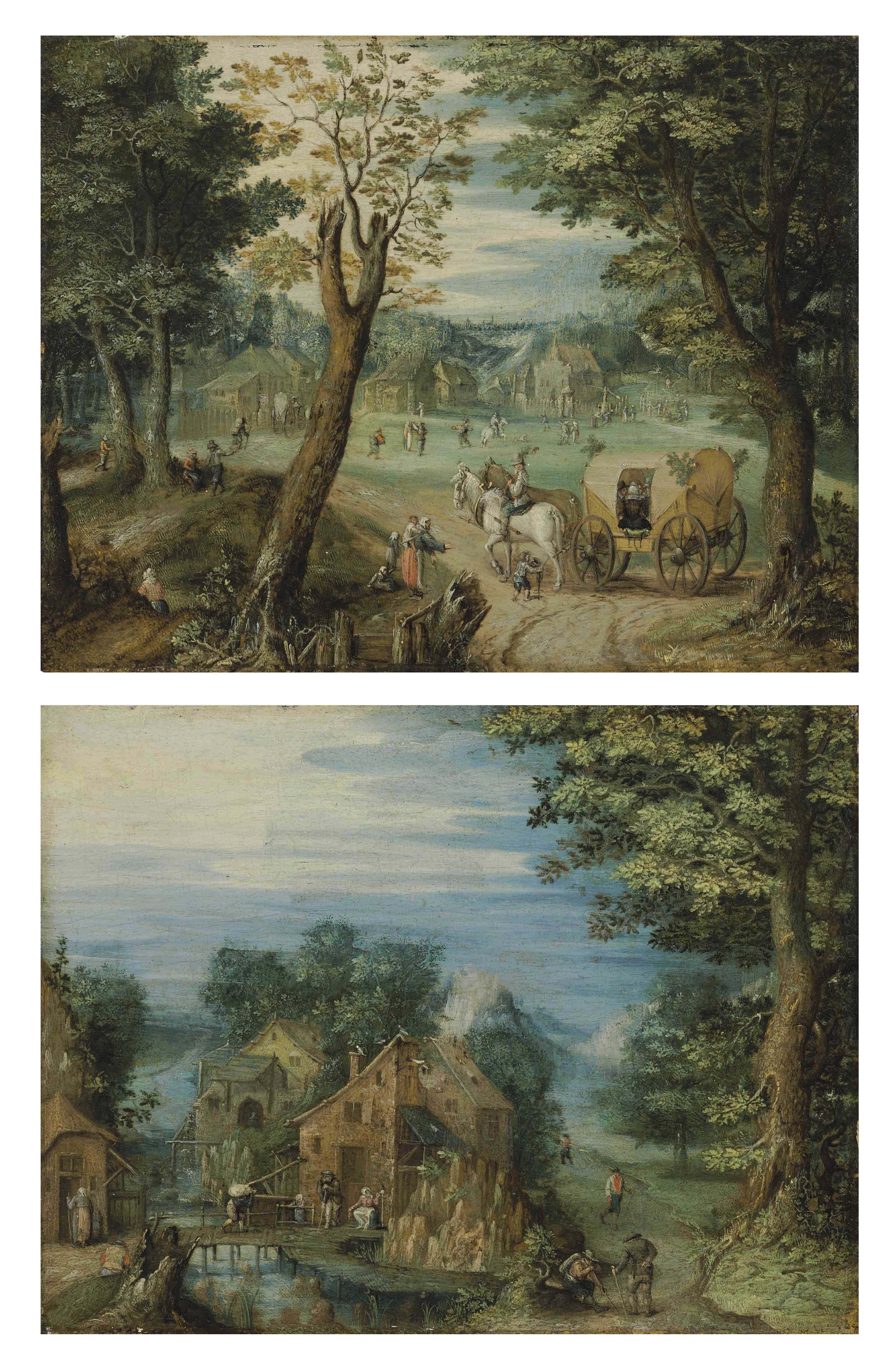 Travelers at a crossroads with a village beyond; and A river landscape with a village and figures