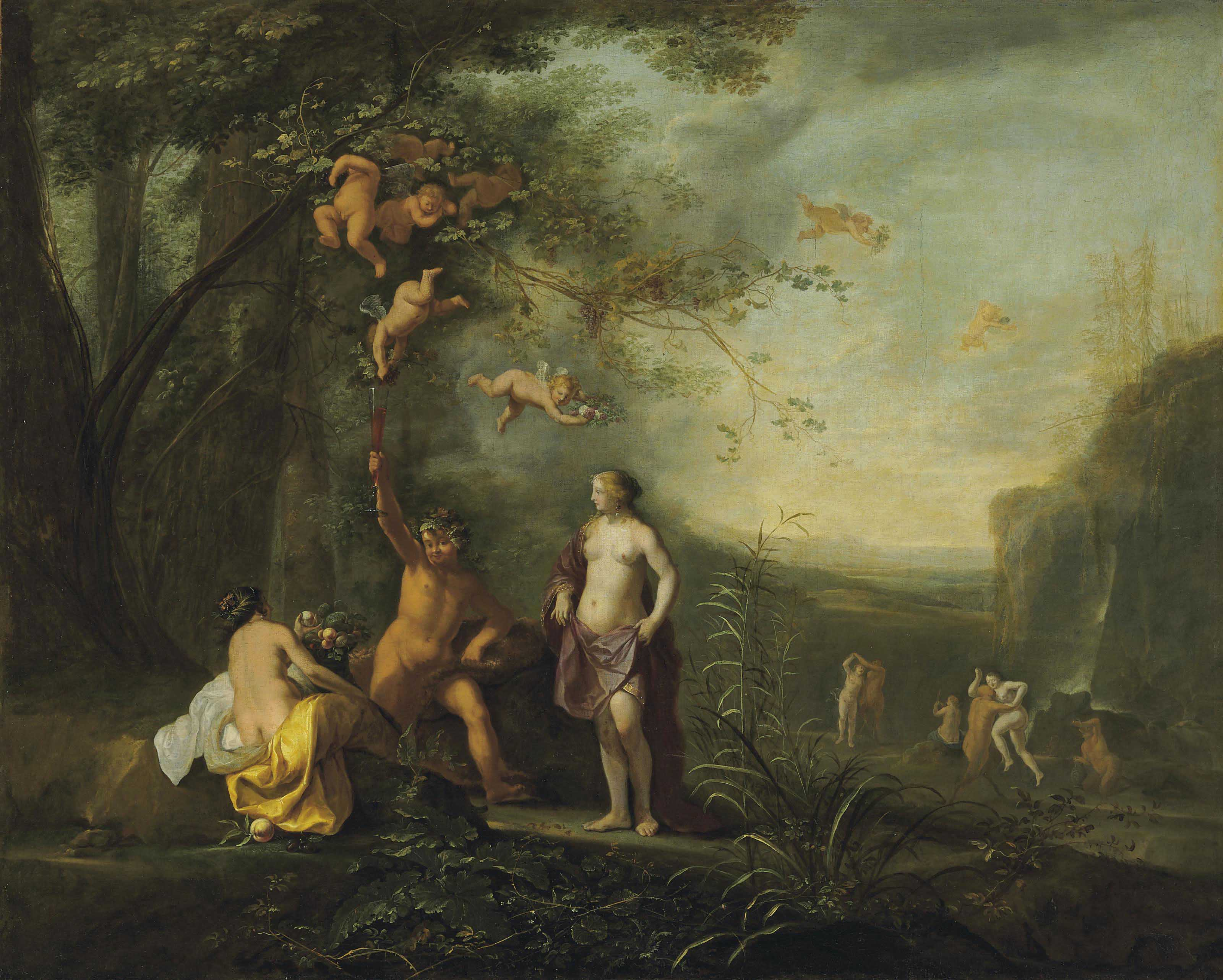 Bacchus, Venus and Ceres under a grapevine in a pastoral landscape with putti, nymphs and satyrs