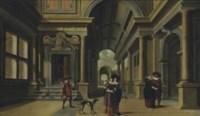 Elegant figures in a courtyard