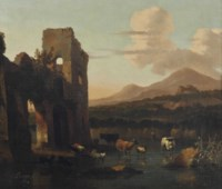 An Italianate landscape with cattle fording a stream by a ruin